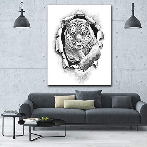 JIAYOUHUO Heiße Bleistiftzeichnung springendes Tiger-HD-Wandbild auf modernem Tierplakatdruck-Leinwand-Ölgemälde Rahmenlos50x60