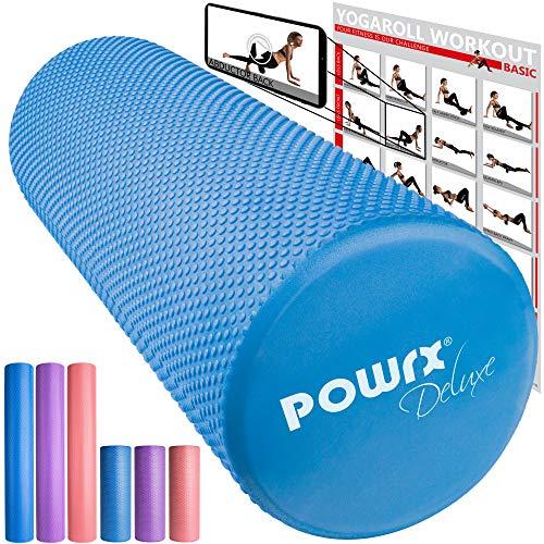 POWRX - Rullo Pilates in Schiuma Eva per Massaggio Muscolare, Trigger Point & Riabilitazione   Ottimo per Pilates, Yoga e Ginnastica   Taglia e Colore a Scelta + PDF Workout (Blu)