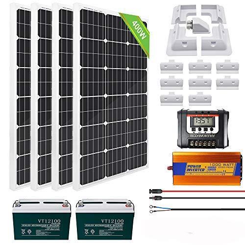 ECO-WORTHY 400W Monokristalline Solar RV Kit mit LCD Ladesteuerung 30A / Akku 200AH / Inverter 1000W 12V-220V / ABS Montagehalterungen / Solarkabel / Kabeleinführungsgehäuse