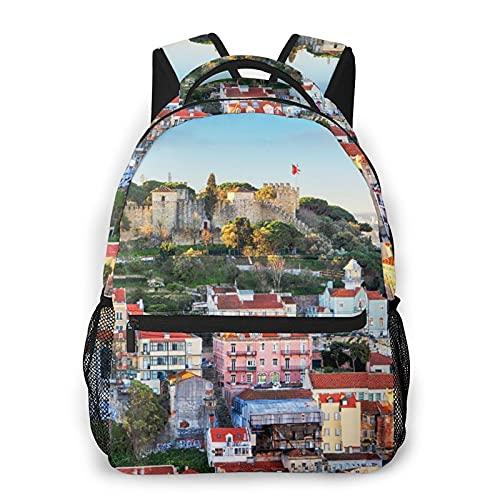 Mochila para adolescentes, hombres, mujeres, paquete de almacenamiento,Castillo de San Jorge en Lisboa, Portuga, Mochila para portátil de viaje para estudiantes de escuela informal de negocios