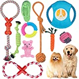 Angelland Dog Chew Toys for Small Dog, Interactive Rope Toys for Puppy, Tug of War Toy, Teeth Cleaning Toy Gift Set for Medium Dogs (10 Pack)