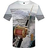 T-Shirt 3D Creativo Camiseta para Hombre,Barco de Pesca - Impresión,Verano Casual Manga Corta tee-Shirt Ocio Manga Corta para Bar Carnival Beach Party,4XL