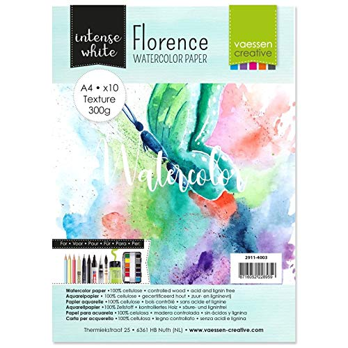 Vaessen Creative Papel de Acuarela Florence A4, Blanco Intenso, 300 gsm, Calidad de Artista, Superficie Texturizada, 10 Hojas para Pintar, Handlettering, Proyectos de Arte
