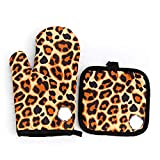 Yililay Glove, 1Pair Cute Style Creative Anti-Scalding Gloves Heat Insulation Pad Microwave Oven Kitchen Glove Set (Coffee Leopard Print)
