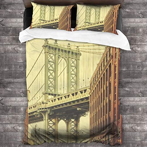 ZUL Duvet Cover Set,Retro Stylized Manhattan Bridge Seen From Dumbo, New York,Decorative 3 Piece Bedding Set with 2 Pillow Shams,220 * 230cm*1