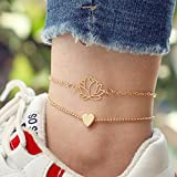 Artmiss Lotus Anklet Layered Heart Flower anklet Bracelet Yoga Inspired Lotus Foot Jewelry for Women and Teen Girls Yoga Meditation