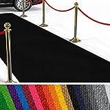 etm Hochwertiger Messeteppich Meterware | Rollteppich VIP Eventteppich, Hollywood Läufer, Hochzeitsteppich | 18 Farben in 23 Größen | Schwarz - 200x150 cm