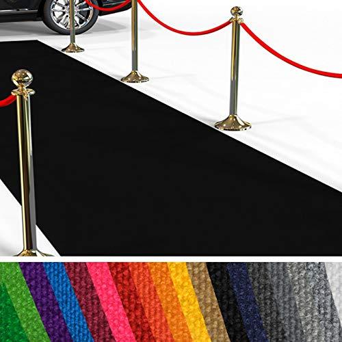 etm Hochwertiger Messeteppich Meterware | Rollteppich VIP Eventteppich, Hollywood Läufer, Hochzeitsteppich | 18 Farben in 23 Größen | Schwarz - 200x300 cm