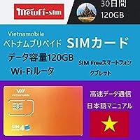 お得な2枚容量120GBセット Vietnamobile ベトナムプリペイドSIM 4G・3G 30日利用 データ