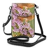 Hdadwy Preciosas ardillas y flores a la moda, pequeño monedero para teléfono celular, bolso de hombro multiusos, billetera