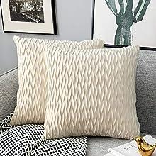 Yamonic Fundas de cojín de 2 Piezas 45x45cm Decoración Almohada Caso de la Cubierta Decorativo para Sofá Cama en Casa, Blanco Crema