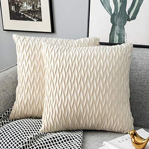 Yamonic Kissenbezüge Set Samt Soft Solid Dekorative Kissen Fall für Sofa Schlafzimmer 40cmx40cm 2er Pack für Couch Bett Sofa Stuhl Schlafzimmer Wohnzimmer, Creme weiß