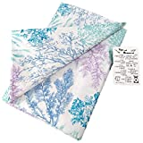 Underwater Pastel Colored Seaweed on White Background Vinyl Tablecloth with Custom Magnet - Flannel Backing (52' x 52' Square)