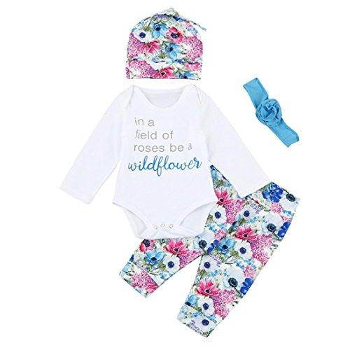 URSING Baby Jungen Mädchen Babywäsche Brief Drucken Outfits Clothes Set Tops Overall Spielanzug+Hose+Hut+Haarband Outfits Kleidung Neugeboren Süße babysachen Säugling Mode Babybekleidung (100, Weiß)