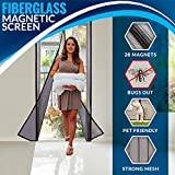 Portable Magnetic Screen Door Curtain - Full Frame Velcro & Fiberglass Mesh.by Outdew This Instant Retractable Bug Screen Opens and Closes Magically. Fits Doors up to 34' x 82'