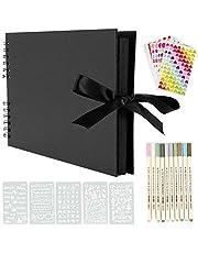 YILEEY Skrapbok 80 svarta sidor klippbok, fotoalbum 30,48 x 22,86 cm minnesböcker gästböcker, gör-det-själv-gåva scrapbooking-kit med 10 st markörer pennor 5 st schabloner 6 st klistermärken och 2 st fotouörn