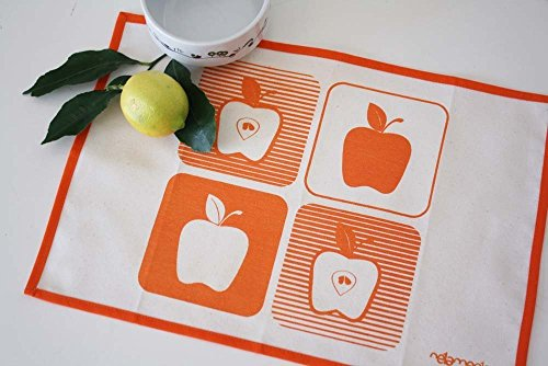 APPLE PLACEMATS set of 2 Handmade placemats set hand-printed with apples in orange