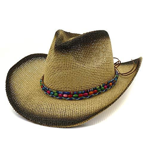 Xingyue Cowboy Hoed en Cowboy Zonnevizier voor dames buiten, western zonnehoed van lak, strandhoed van gevlochten touw