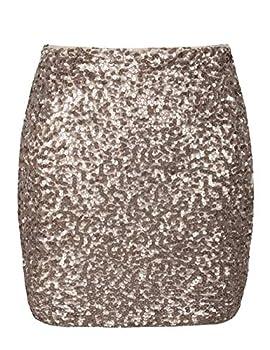 PrettyGuide Women s Sequin Skirt Stretchy Bodycon Plus Size Glitter Mini Skirt XXL Champagne