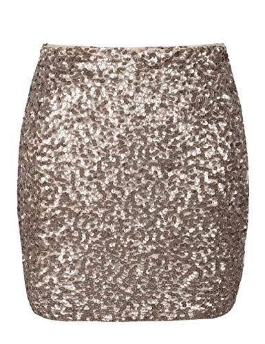 PrettyGuide Damen Pailletten Rock Stretchy Bodycon Glam Mini Club Rock M Champagner