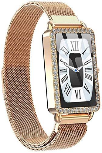 Reloj inteligente para mujer Monitor Fitness Pulsera Sport Podómetro Smartwatch Ip67 para Niñas Señoras Noble/Plata Gris-Oro