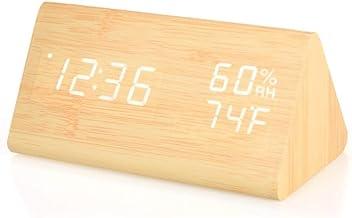 XLZZLDZ Reloj Despertador 2019 Nuevo Reloj Despertador LED Digital Control de Sonido Reloj Despertador de Madera 3 alarmas USB/batería Reloj de Mesa Termómetro higrómetro Interior, Madera Natura