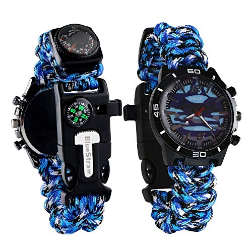 Survival Bracelet Watch, Men/Women Waterproof Emergency Survival Watch with Paracord Whistle Fire Starter Scraper Compass and Thermometer, 6 in 1 Multifunctional Outdoor Gear (Blue)