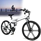 DDCHH Bicicleta Eléctrica Plegable para Adultos 26' E-Bike Pedal Assist, Fácil De Almacenar En Caravanas, Autocaravanas, Barcos, Automóviles, Batería 48V 10Ah, 21 Velocidades,White