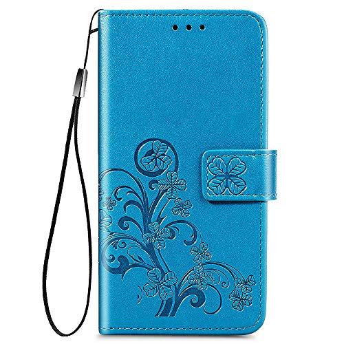 ALAMO Vier Klee Hülle für Samsung Galaxy S21, Premium PU Leder Handyhülle mit Kartensteckplätze - Blau