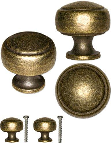 FUXXER® - 2x Antike Möbel-Griffe, Schubladen-Knöpfe, Antik Landhaus Vintage Design Bronze Messing, für Möbel Küche Buffet Schieber, 26 x 24mm, 2er Set inklusive Schrauben