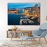JNZART Moderne nordische Stadt Gebäude See Landschaft Poster und Drucke Leinwand Malerei Wandbilder für Wohnzimmer Gemälde Home Decor A 50x70cm