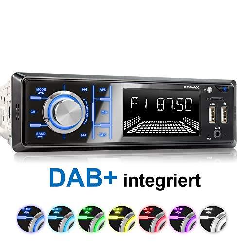 XOMAX XM-RD273 Autoradio mit DAB+ Tuner und Antenne I Handy Aufladen über 2. USB Anschluss I Bluetooth Freisprecheinrichtung I RDS I 2X USB, SD, AUX I 1 DIN