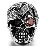 MunkiMix Acero Inoxidable Anillo Ring Cz Cubic Zirconia Circonita El Tono De Plata Negro Rojo Cráneo Calavera Talla Tamaño 22 Hombre