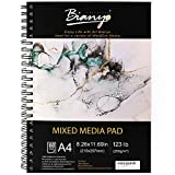 Bianyo Mixed Media Paper Pad, A4 (8.26' X 11.69'), 60 Sheets/Each, 123 LB/200 GSM, Pack of 1 Pad, Spiral-Bound Pad, Ideal for Wet & Dry Media Like Art Marker, Watercolor, Acrylic, Pastel, Pencil