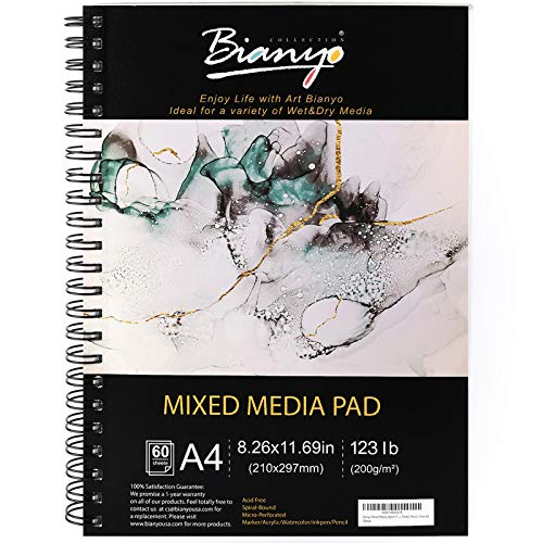 """Bianyo Mixed Media Paper Pad, A4 (8.26"""" X 11.69""""), 60 Sheets/Each, 123 LB/200 GSM, Pack of 1 Pad, Spiral-Bound Pad, Ideal for Wet & Dry Media Like Art Marker, Watercolor, Acrylic, Pastel, Pencil"""