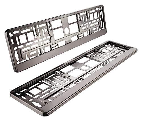 Auto Light 24 I 2 soportes para matrícula, grafito antracita, aspecto metálico cromado, cromo brillante, soporte para matrícula para coche 520 x 110 mm