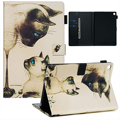 LMFULM® Hülle für Huawei MediaPad M5 (10,8 Zoll) PU Lederhülle Smart Hülle Cover Ständer Schutzhülle Flip Cover Zwei Katzen