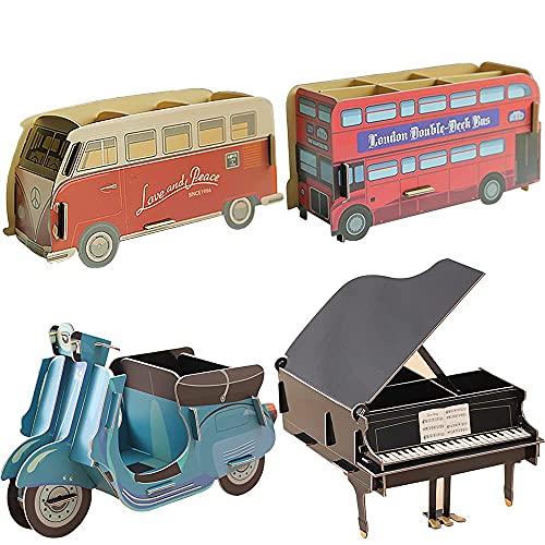 Caja de almacenamiento con soporte para bolígrafos de papel de 4 piezas DyniLao, cajón multifuncional, papelería, caja de almacenamiento de escritorio, organizador de escritorio