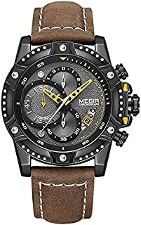 Megir watch for Men, Leather Band, Chronograph ML2130-GBK-1 Brown
