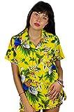 Funky Hawaiian Blouse Shirt, Cherry Parrot, Yellow, M
