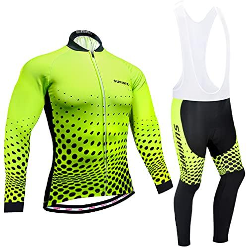 Abbigliamento Ciclismo Invernale Uomo, Termica Pile Maglia Ciclismo Manica Lunga e Alta Densità Imbottiti Gel Pantaloni Lunghi Ciclismo per Bici da Strada e MTB, Verde, M