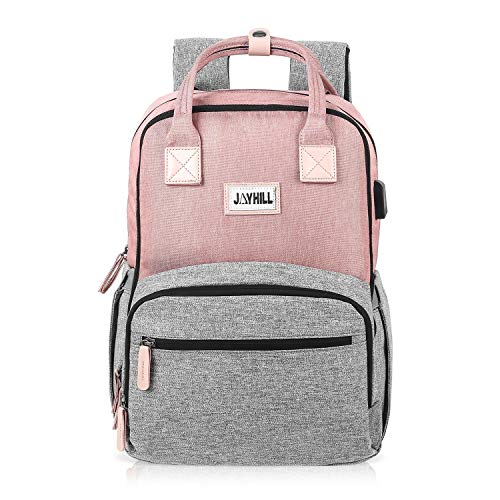 Laptop Backpack, 15.6 Inch Stylish Notebook Backpack with USB Charging Port, Water Resistant Business Travel School College Backpack for Women Girls