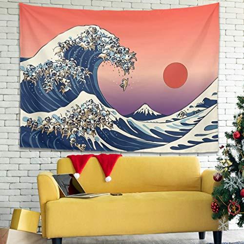 Grande onda della tradizionale carta da parati giapponese Folklore del carlino indiano Gobelin Fantasie parete coperta spiaggia nascondere foto sfondo 150 x 150 cm bianco