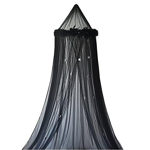 Souarts Betthimmel Baldachin Dekohimmel für Kinder Zimmerm, Fliegennetz Mückenschutz für Kinderbetten chic Vorhang 240cm (Feder Schwarz)