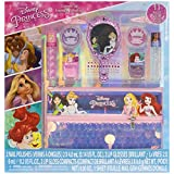 Townley Girl Disney Princess Makeup Set with 11 Pieces, Including Lip Gloss, Nail Polish, Mirror, Gem Stickers and Sequin Holographic Bag, Ages 3+ for Parties, Sleepovers and Makeovers