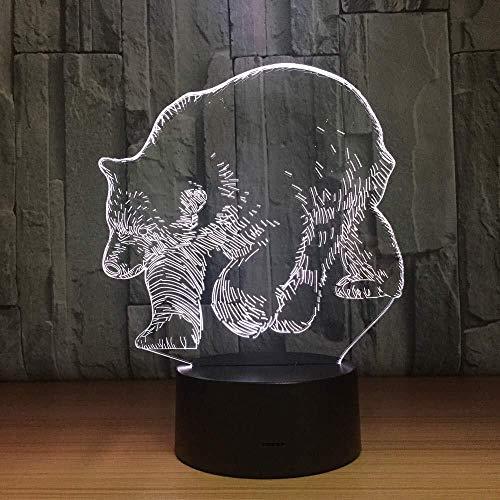 NJIUHB Nachtlampje Polar 3D Animal LED-lamp voor touch-sensoren 's nachts beste cadeau kleur 7 welke verlichting voor Kids Room