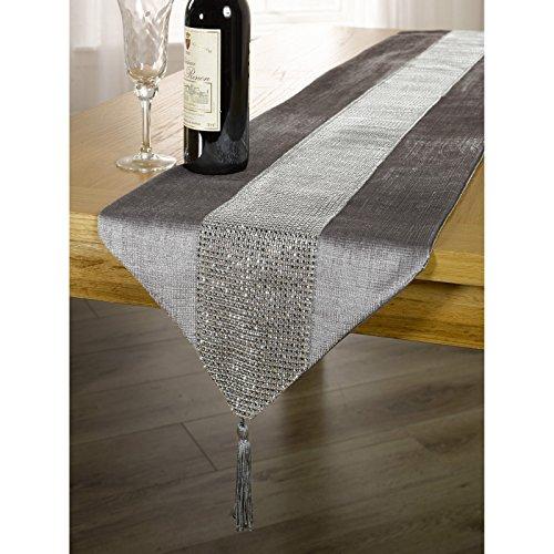 Panache Tischläufer/Tischdecke mit Schmucksteinen in der Mitte und Quasten Abschluss (33 x 183 cm) (Silber)