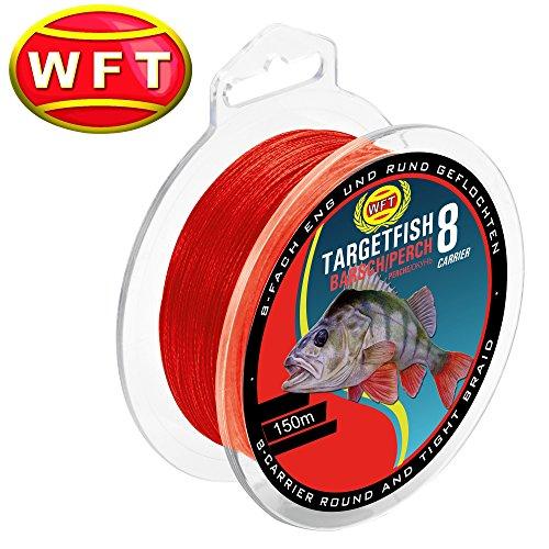 WFT TF8 Barsch red 150m - Barschschnur zum Spinnfischen, geflochtene Angelschnur zum Barschangeln, Schnur für Barsche, Durchmesser/Tragkraft:0.10mm / 7kg Tragkraft