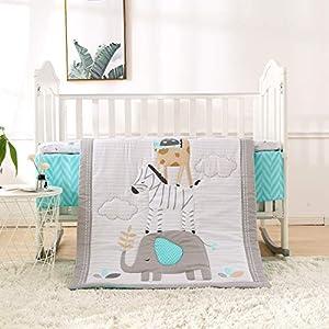 Wowelife Grey Crib Bedding 3 Piece Elephant and Zebra Baby Elephant Crib Set Girl(Grey Elephant)