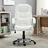 BELLEZE High Back PU Faux Leather Executive Office Desk Computer Chair with Swivel & Adjustable Height & Armrests, Creamy White